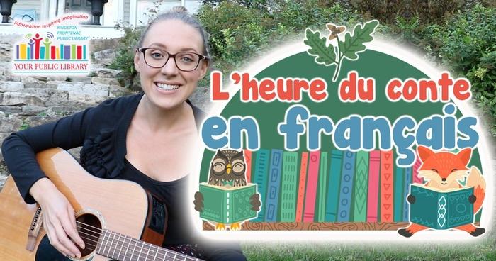 A woman playing guitar, facing the camera. Text reads L'heure du conte en français.