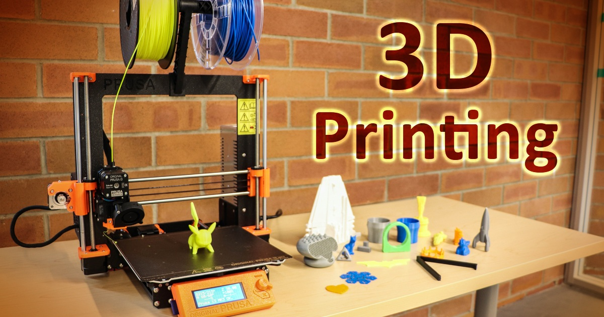 3D printing, image of printer and printed objects