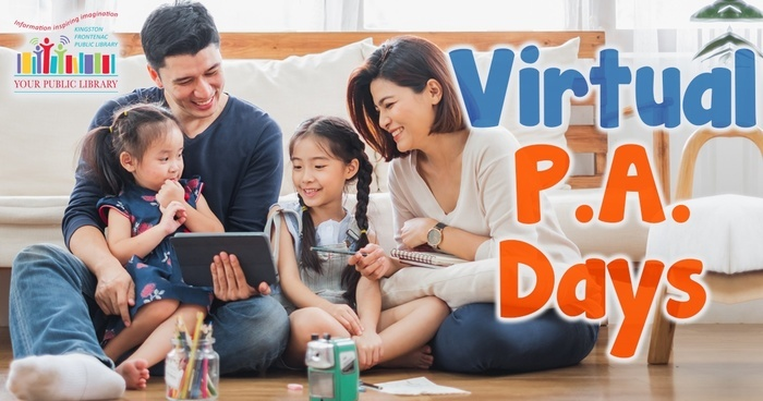 A family sits together around a tablet, smiling. Text reads Virtual P.A. Days.
