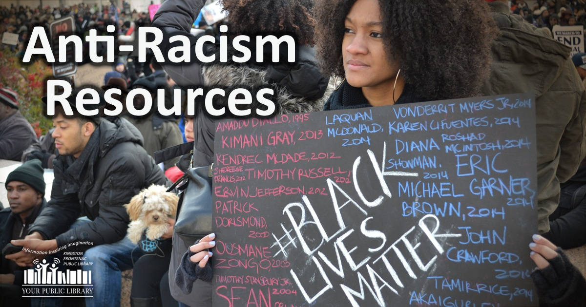 Image of young woman at protest. Text reads Anti-Racism resources