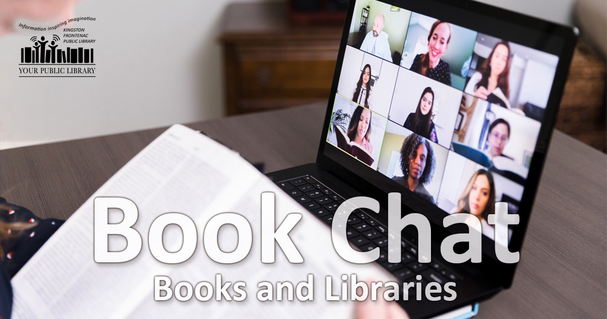 A laptop open to a group chat. Someone is holding a book open in front of the laptop. Text reads Book Chat: Books and Libraries.
