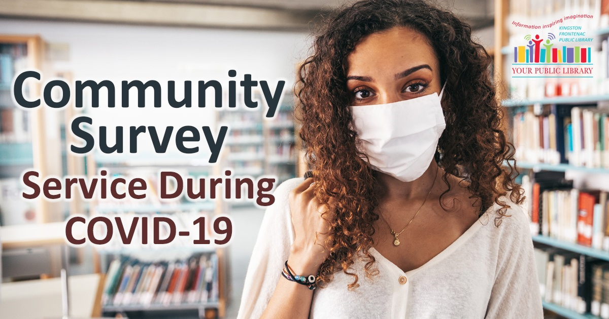 Community survey services during COVID 19. Image of woman in mask in a library