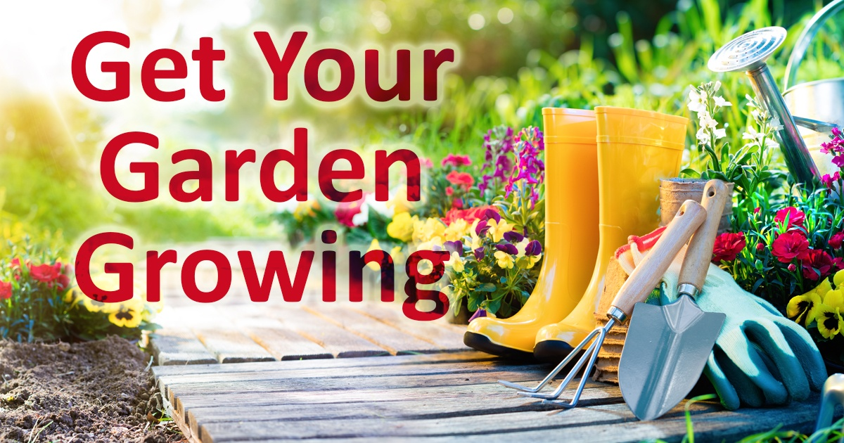 Get your garden growing. Imager of rubber boots and plants with garden tools
