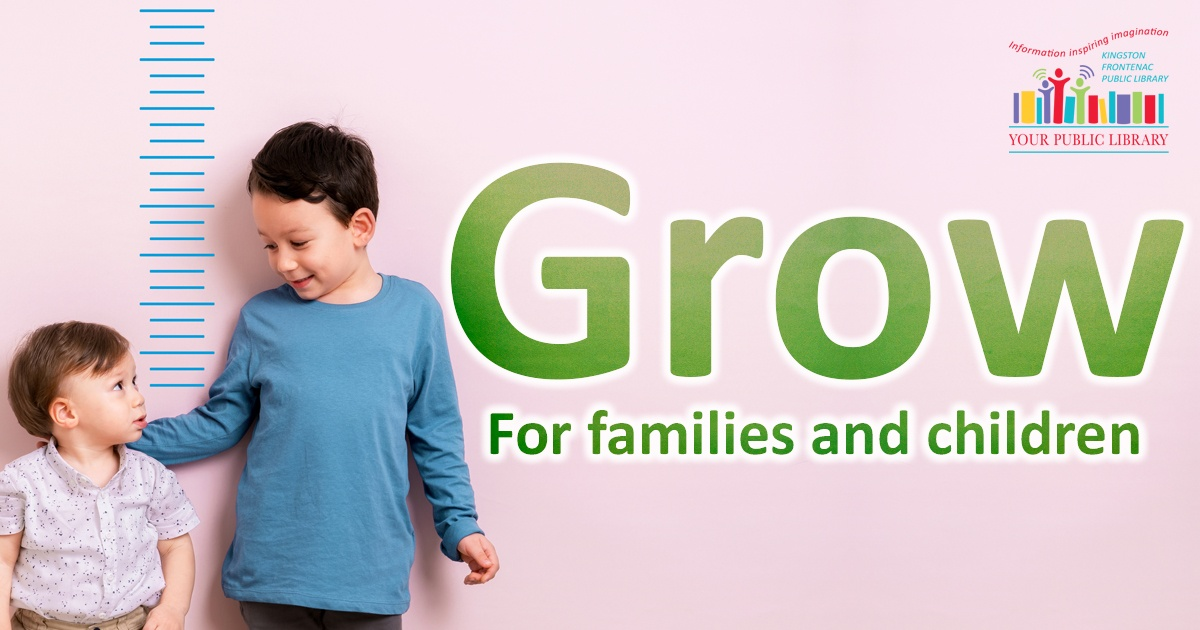 Grow. For families and children. Image of toddler with older sibling.