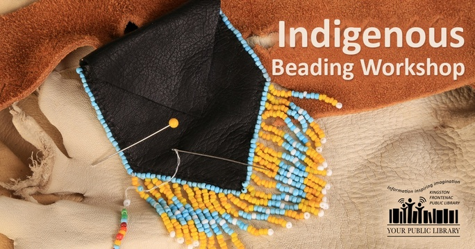 A small pouch beaded in yellow and blue on a hide background. Text reads Indigenous beading workshop.