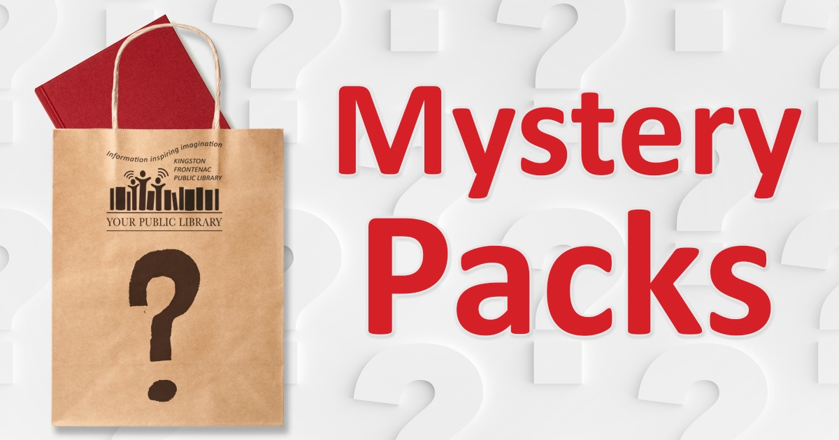 Mystery packs. Image of paper bag with a question mark on the front and a book sticking out the top.