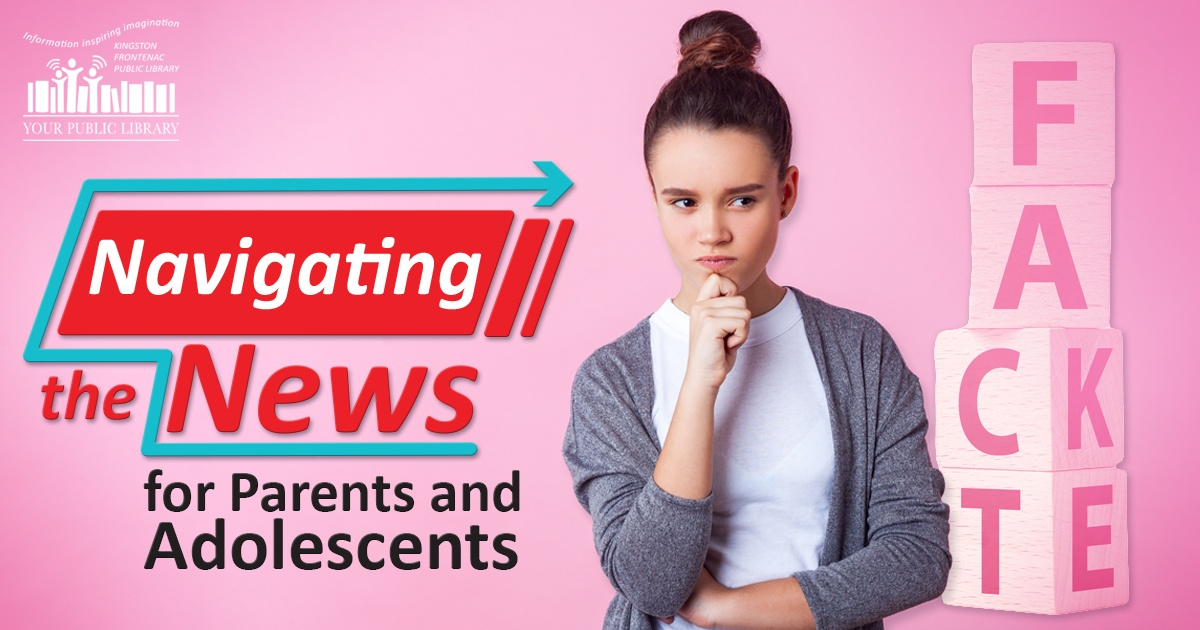 On a pink background, an adolescent looks to the side with her hand under her chin. Text reads 'Navigating the News for Parents and Adolescents.'