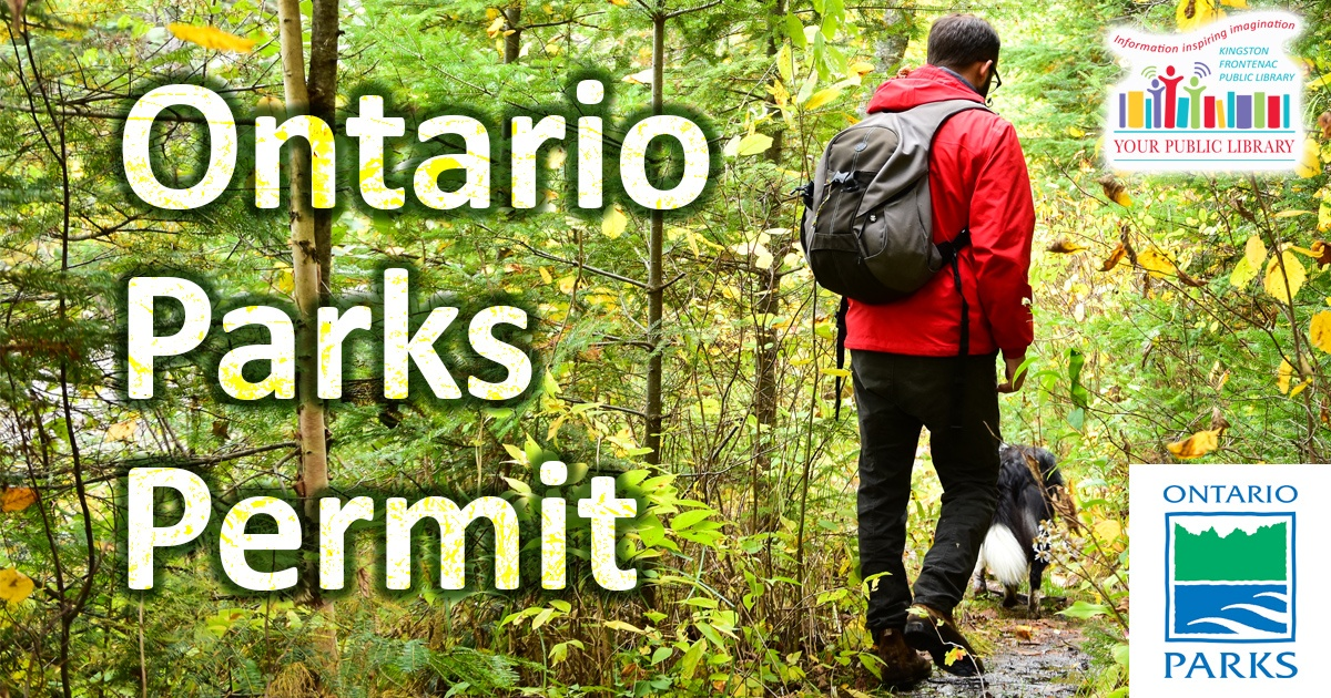 Ontario Parks Permit. Image of person hiking in the forest.