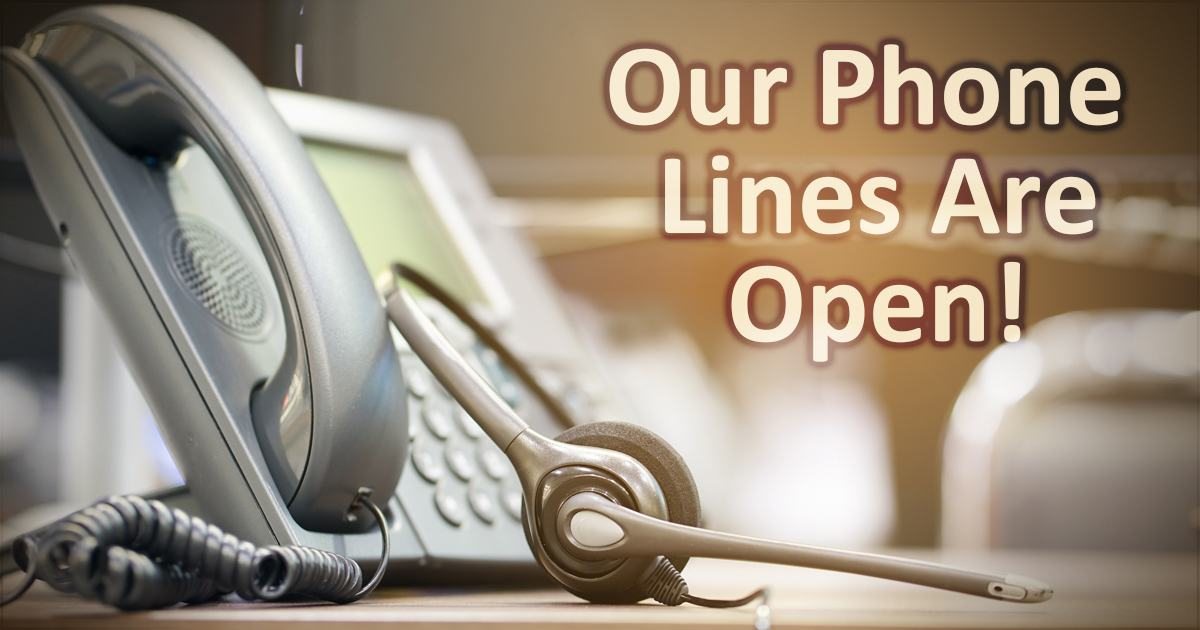 Our phone lines are open. Image of telephone.