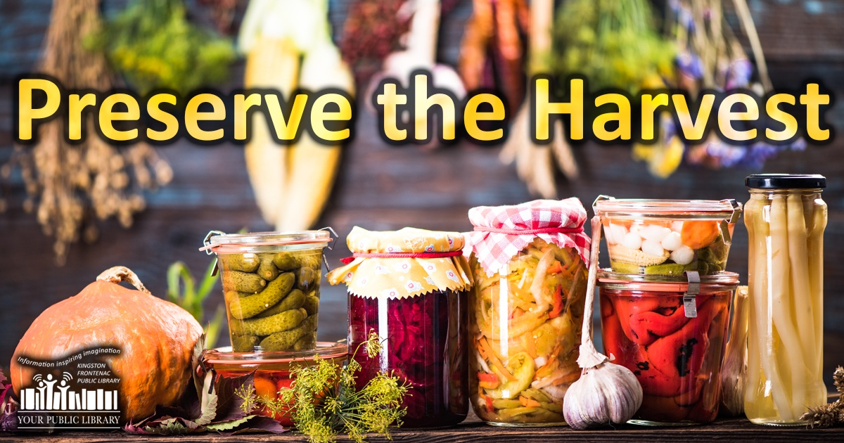 Preserve the harvest. Image of jars of pickles and jam.
