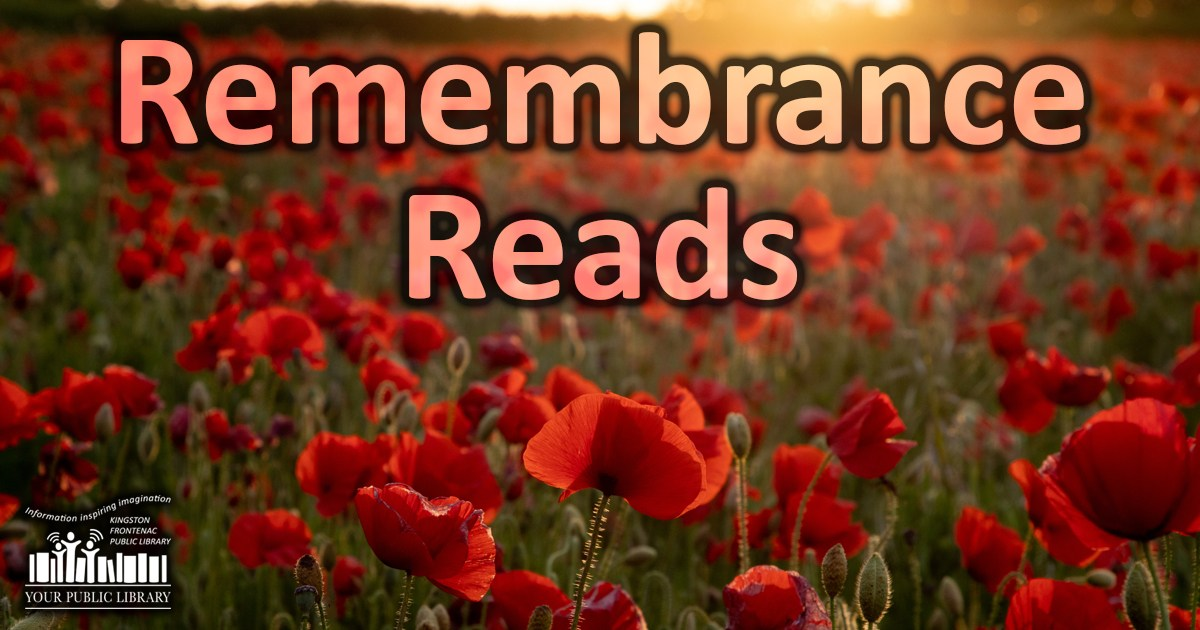 Image of a field of poppies. Text is Remembrance Reads.