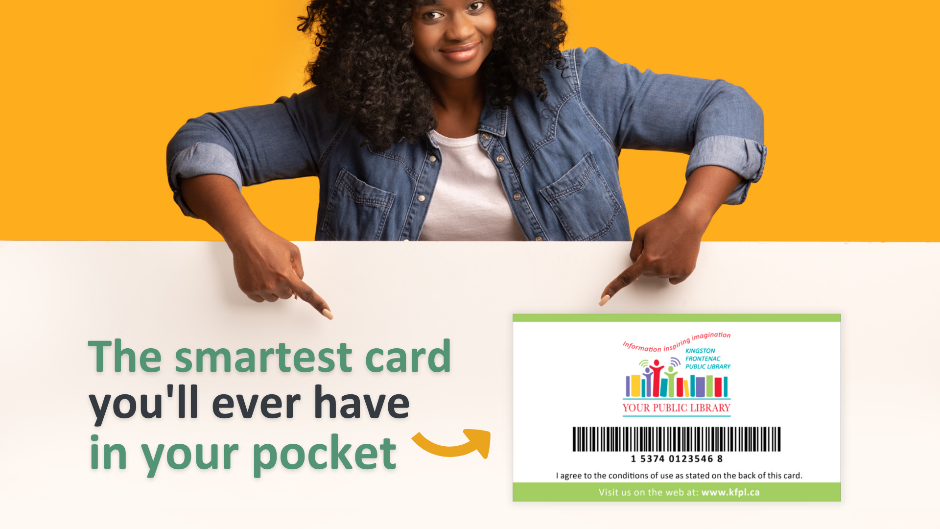 A woman in a jean jacket is looking at the camera and pointing with both hands down to a KFPL card and text reading 'The smartest card you'll ever have in your pocket.'