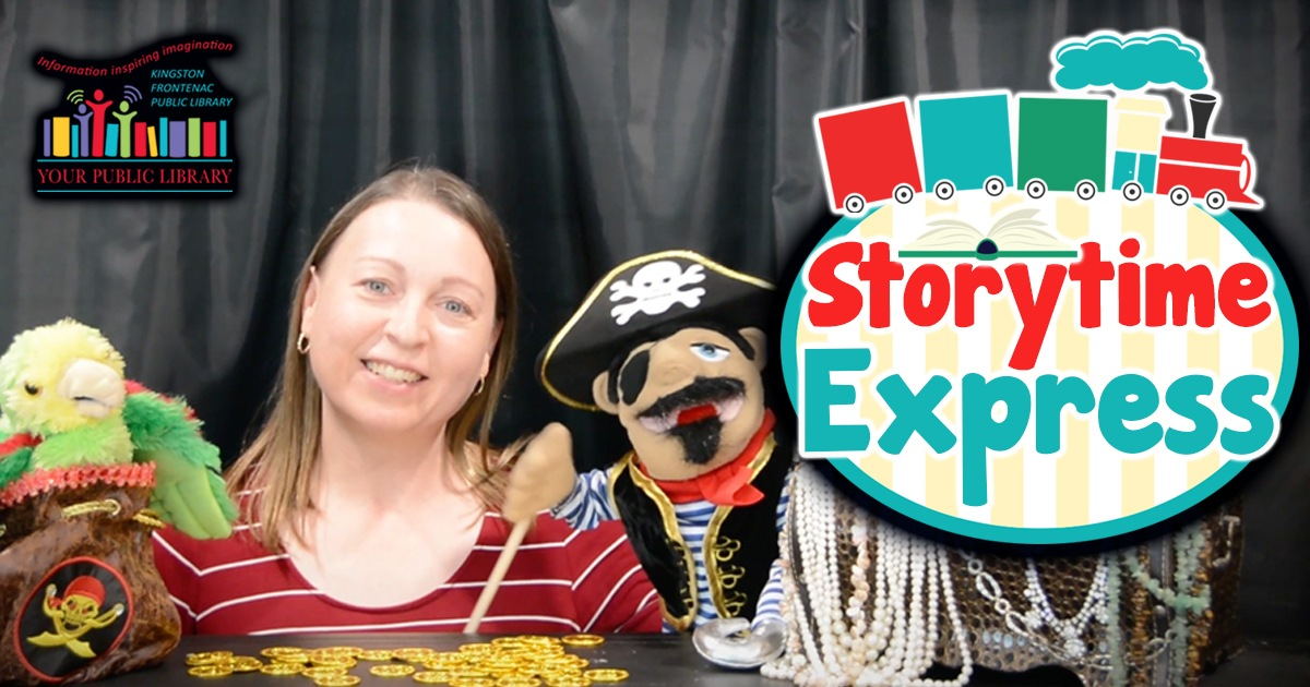 Photo of woman with with pirate and parrot puppets. Text reads Storytime Express.