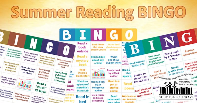 Image of bingo cards with text summer reading bingo