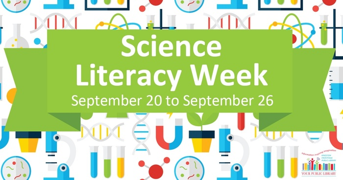 Cartoon images of science-related objects, with a green banner over the top of these pictures. Text reads 'Science Literacy Week.'