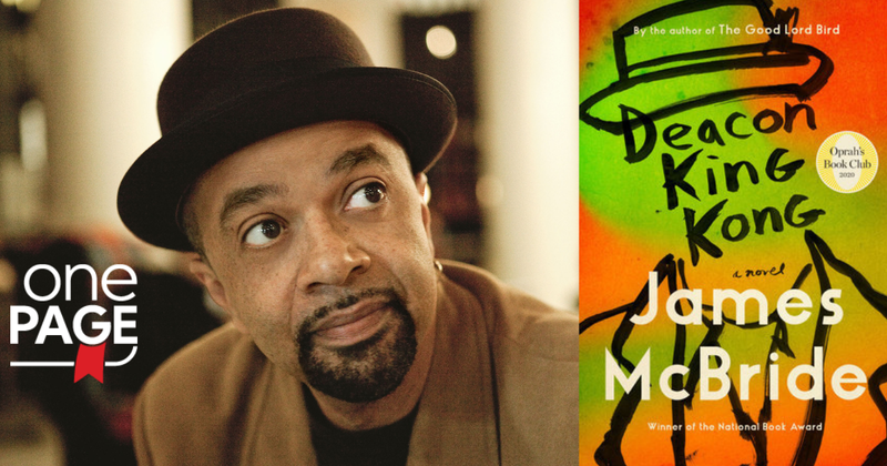 James McBride and the book cover of Deacon King Kong